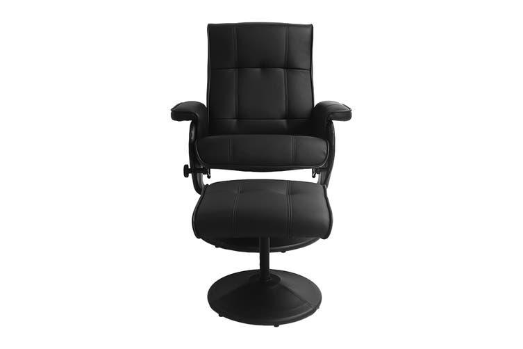Ergolux Washington Recliner Chair with Ottoman (Black)