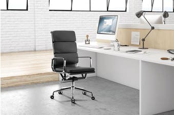 Ergolux Eames Replica High Back Padded Office Chair - Executive Collection (Grey)