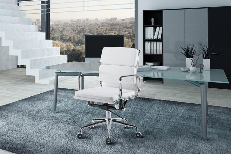 Ergolux Eames Replica Low Back Padded Office Chair - Executive Collection (White)