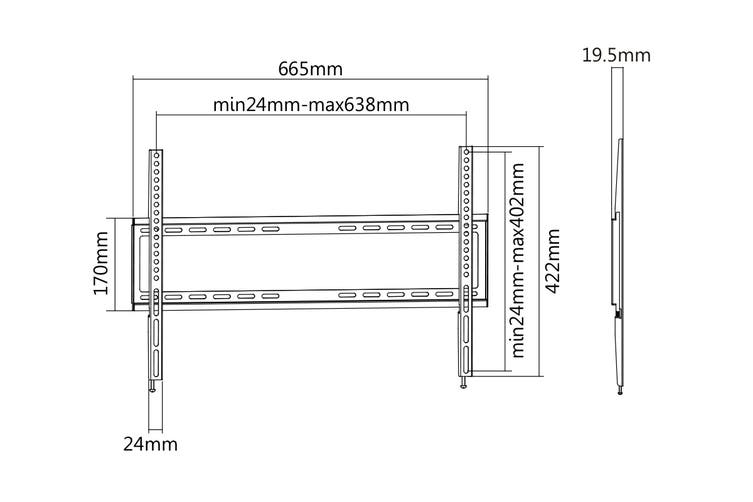 """Kogan Low Profile Fixed TV Wall Mount for 32"""" - 75"""" TVs"""