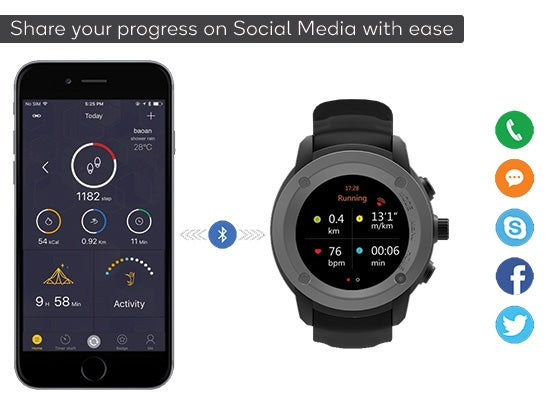 Kogan Multisport GPS Watch Social Media (Black)