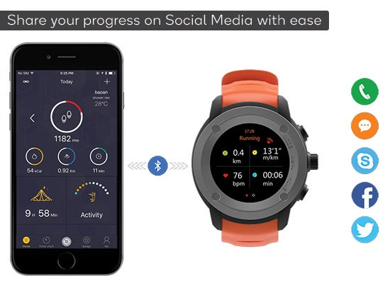Kogan Multisport GPS Watch Social Media (Orange)