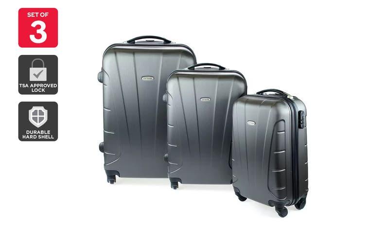 Orbis 3 Piece Hardside Spinner Luggage Set (Charcoal)