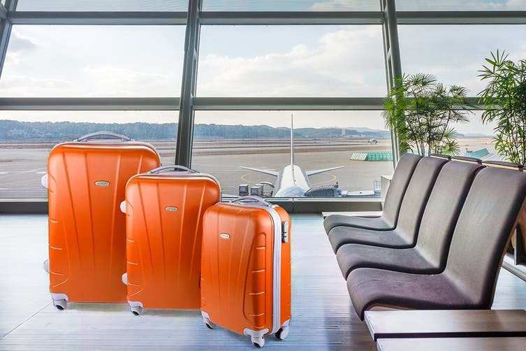 Orbis 3 Piece Hardside Spinner Luggage Set (Tangerine)