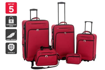 Orbis 5 Piece Ultimate Luggage Set (Red)