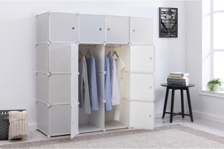 Ovela 16 Cube Modular Storage Organiser (Matte White)