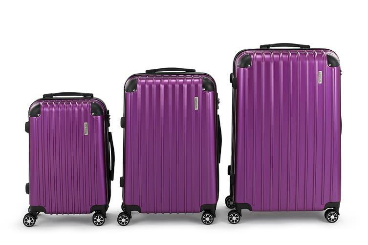 Orbis 3 Piece Tahiti Spinner Luggage Set (Electric Purple)