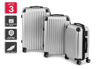 Orbis 3 Piece Tahiti Spinner Luggage Set (Silver)