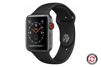Apple Watch Series 3 Refurbished (Grey, Aluminium, 42mm, Sports Black, GPS + Cellular) - AB Grade
