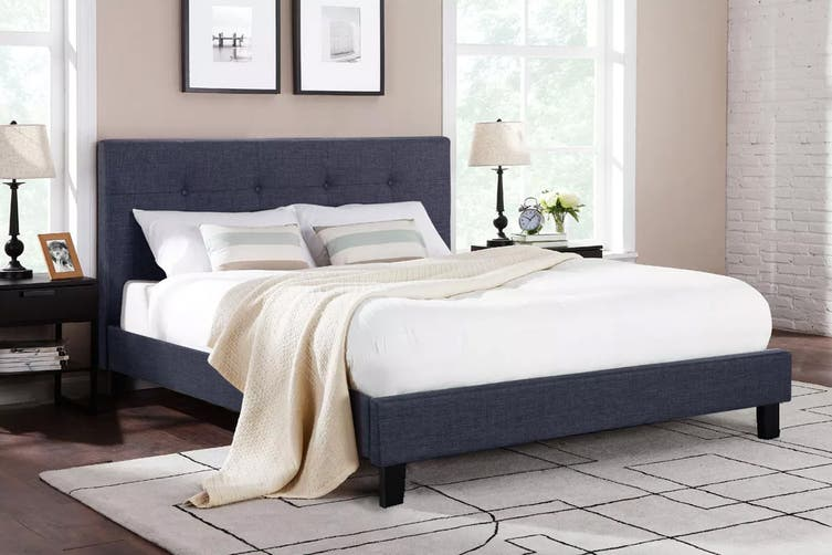 Ovela Bed Frame - Positano Collection (Charcoal Grey, King)