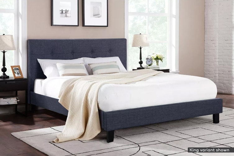 Ovela Bed Frame - Positano Collection (Charcoal Grey, Queen)