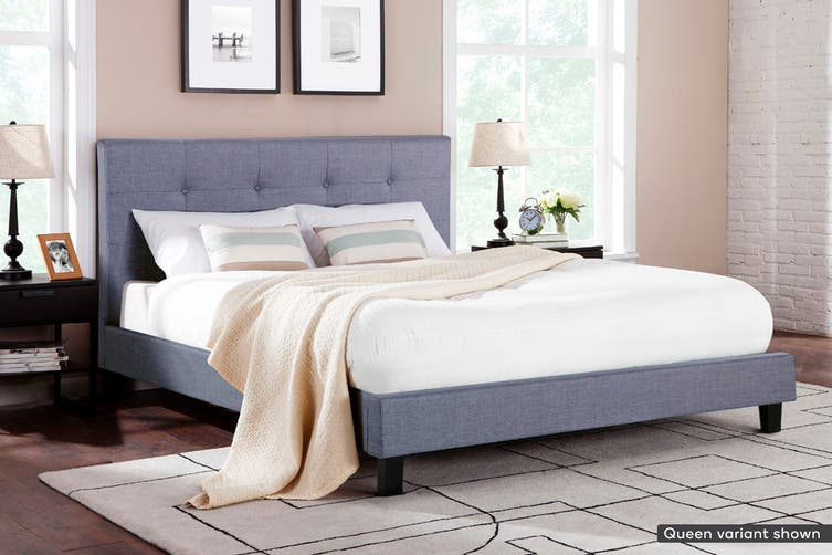 Ovela Bed Frame - Positano Collection (Pewter Grey, King)