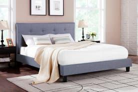 Ovela Bed Frame - Positano Collection (Pewter Grey, Queen)