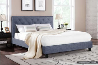 Shangri-La Bed Frame - Sorrento Collection (Pewter Grey, Double)