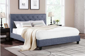 Shangri-La Bed Frame - Sorrento Collection (Pewter Grey, Queen)