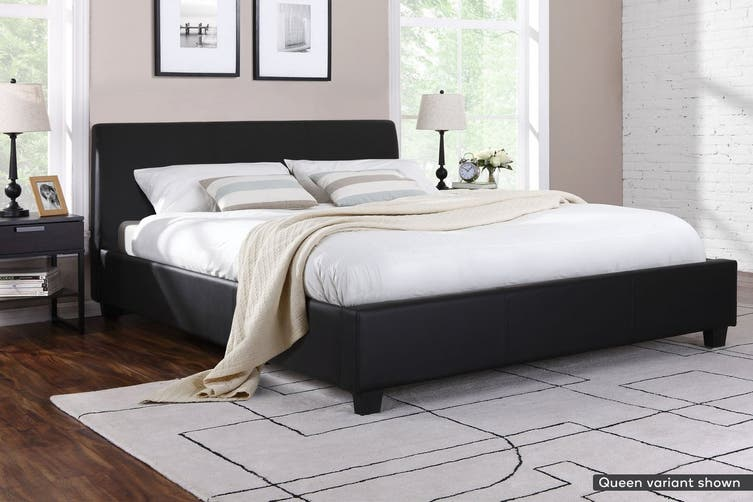 Shangri-La Bed Frame - Vernazza Collection (Black, Double)