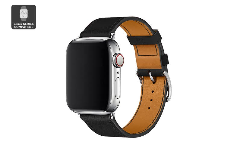 Premium Leather Band for Apple Watch 42/44mm (Black)