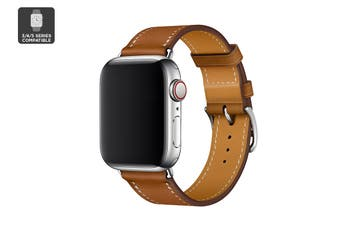 Premium Leather Band for Apple Watch 42/44mm (Brown)
