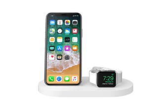 Belkin Powerhouse Wireless Charging Dock for Apple Watch and iPhone - White (F8J235AUWHT)