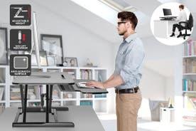 Ergolux Pro Height Adjustable Sit Stand Desk Riser (Medium, Black)