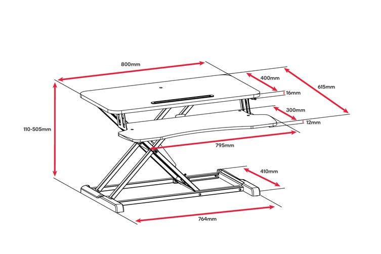Ergolux Pro Height Adjustable Sit Stand Desk Riser (Medium, White)