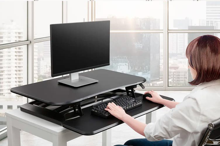 Ergolux DuoPro Height Adjustable Sit Stand Desk Riser (Large, Black)