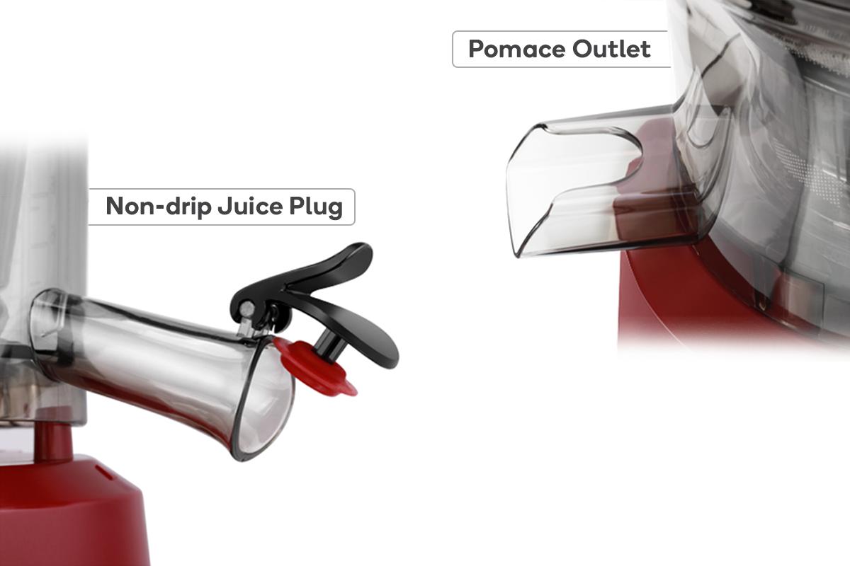 Non-drip Juice Plug & Pomace Outlet
