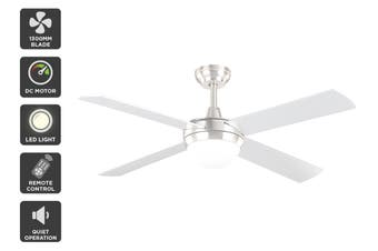 Kogan 52″ 1300mm DC Motor Ceiling Fan with Light & Remote (Silver)