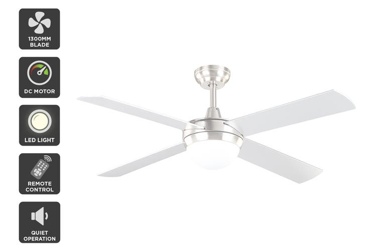 Kogan 52″ 1300mm DC Motor Ceiling Fan with Light & Remote (Silver)