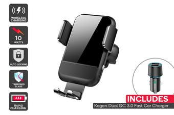 Kogan Auto-Clamping 10W Qi Dual QC 3.0 Car Mount + Fast Charger