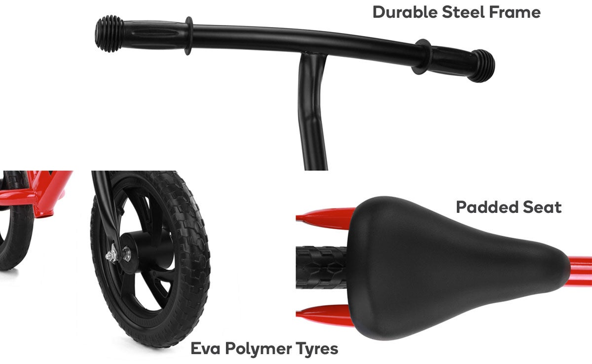 Durable Steel Frame, Padded Seat, Eva Polymer Tyres