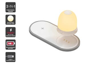 2-in-1 Bedside Warm & Cool White LED Night Light with 10W Wireless Charger