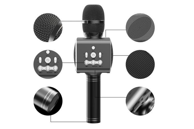 Kogan Bluetooth Karaoke Microphone with Built-in Speaker and LED (Black)