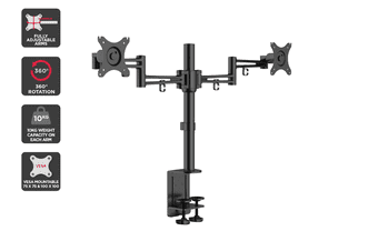 Kogan Articulating Dual Monitor Mount (Black, Anzio)