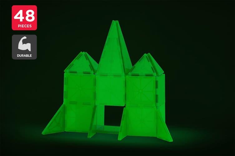 48 Piece Glow In The Dark Magnetic Tile Set