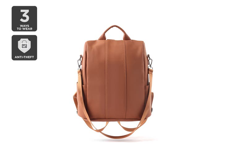 Anti-theft Leather Backpack (Brown)