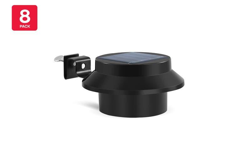 Solar Powered LED Gutter Lights (Black) - 8 Pack