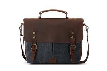 Leather Canvas Messenger Bag (Navy)