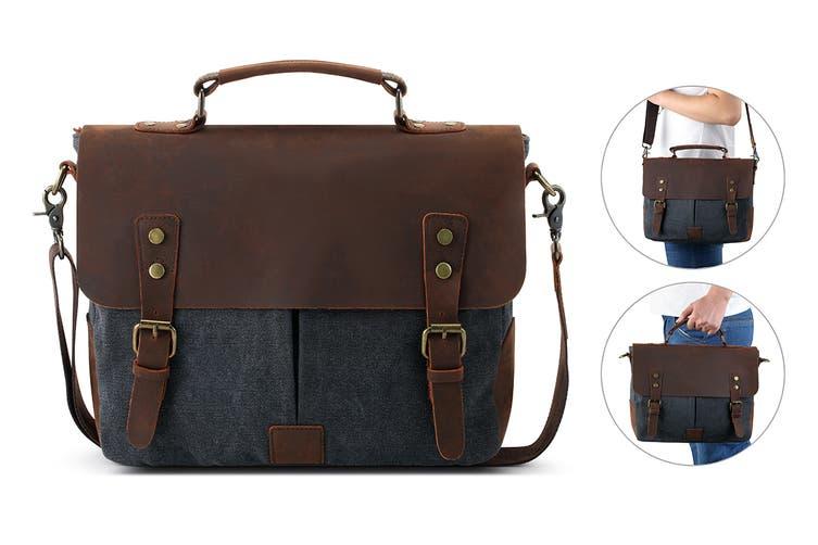 Leather Canvas Messenger Bag (Navy)