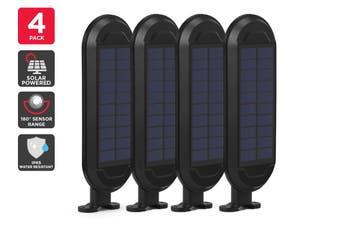 Solar Powered Wall Mounted Motion Sensor LED Light (Black, Zara) - 4 Pack
