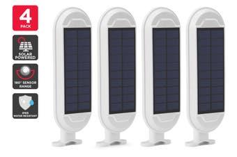 Solar Powered Wall Mounted Motion Sensor LED Light (White, Zara) - 4 Pack