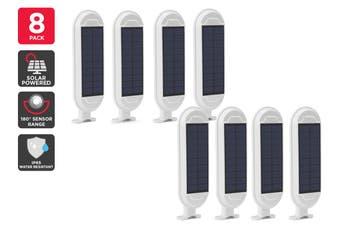 Solar Powered Wall Mounted Motion Sensor LED Light (White, Zara) - 8 Pack