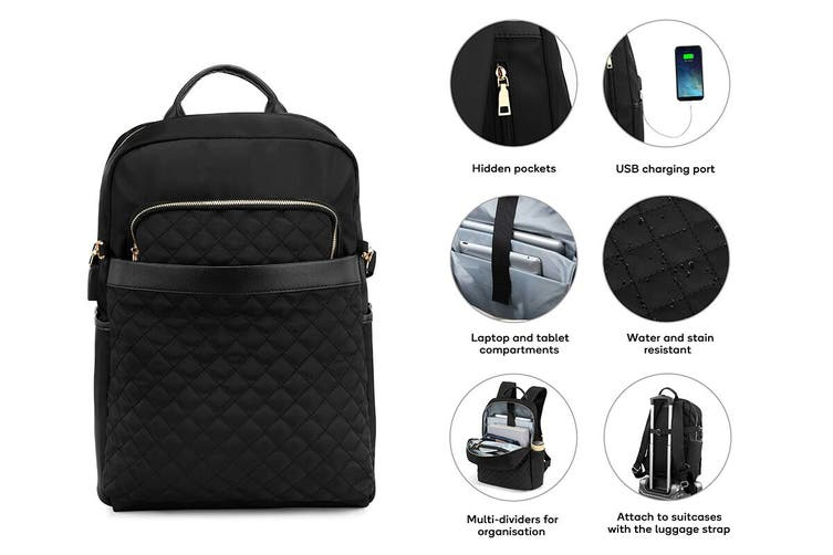Luxe Travel Backpack with USB Charging Port (Black)