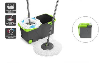 Kogan Magic 360° Magic Spin Mop with Roller Easy Stack Bucket and 2 Mop Heads