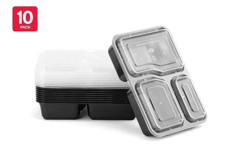 3-Compartment Reusable Food Storage Container (10 Pack)