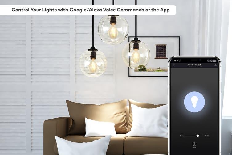 Kogan SmarterHome™ 5W Smart Dimmable LED Filament Bulb A-19 (E27) - 4 Pack