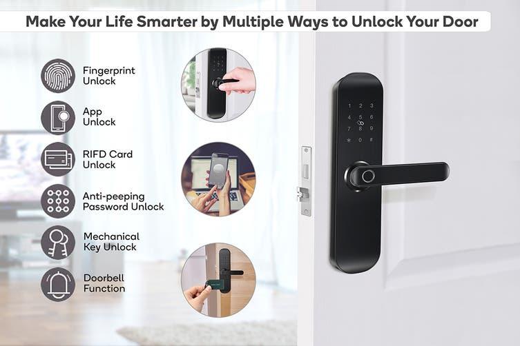 Kogan SmarterHome™ IP54 Battery Powered Fingerprint Smart Wi-Fi Door Lock