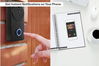 Kogan SmarterHome™ Wireless Smart Full HD 1080P Video Doorbell with Chime (Black)