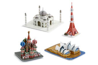Taj Mahal / Tokyo Tower / St. Basils Cathedral / Sydney Opera House 3D Puzzle Combo