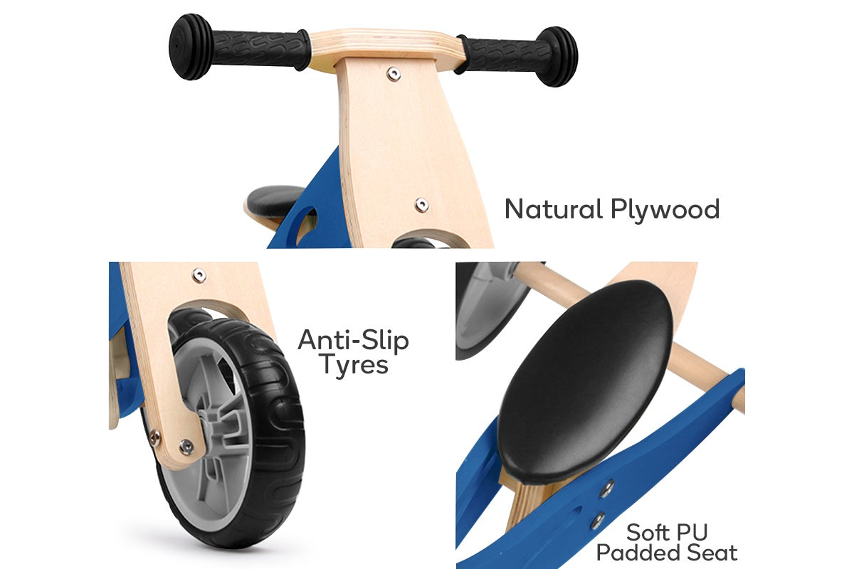 Natural Plywood, Anti-Slip Tyres, Soft PU Padded Seat